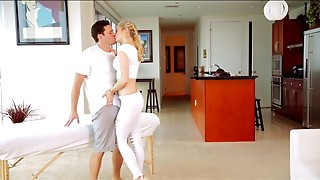 Blonde masseuse in white gives him a happy ending