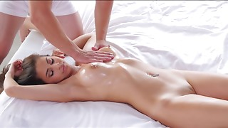 Skinny brunette enjoys massage and hardcore fucking